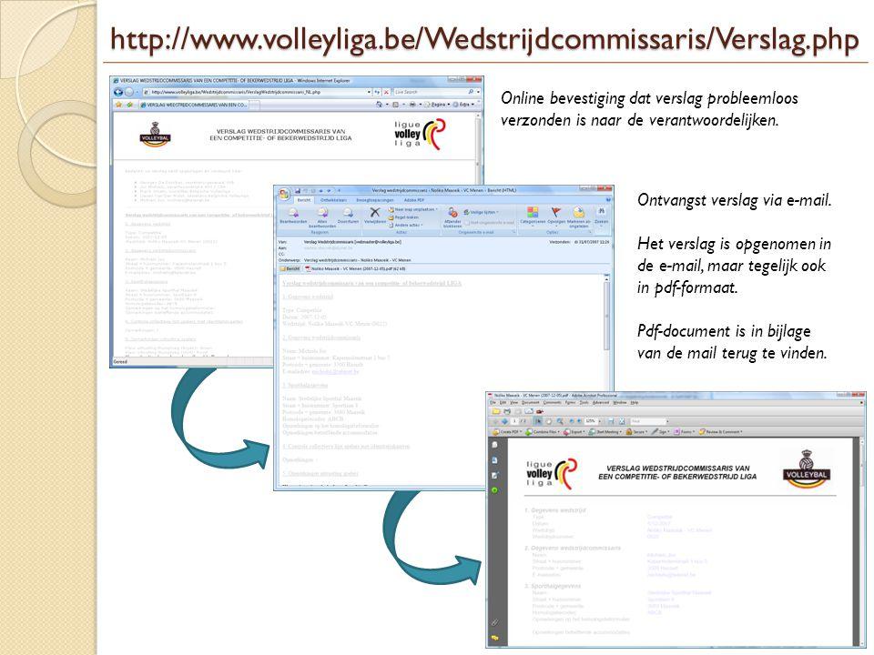 http://www.volleyliga.be/Wedstrijdcommissaris/Verslag.php Online bevestiging dat verslag probleemloos verzonden is naar de verantwoordelijken.