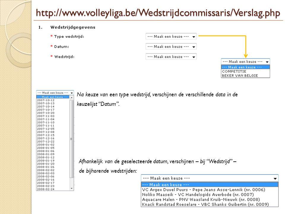 http://www.volleyliga.be/Wedstrijdcommissaris/Verslag.php Na keuze van een type wedstrijd, verschijnen de verschillende data in de.