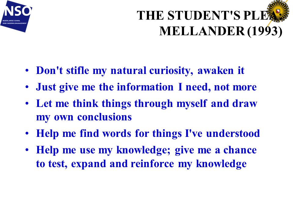 THE STUDENT S PLEA: MELLANDER (1993)