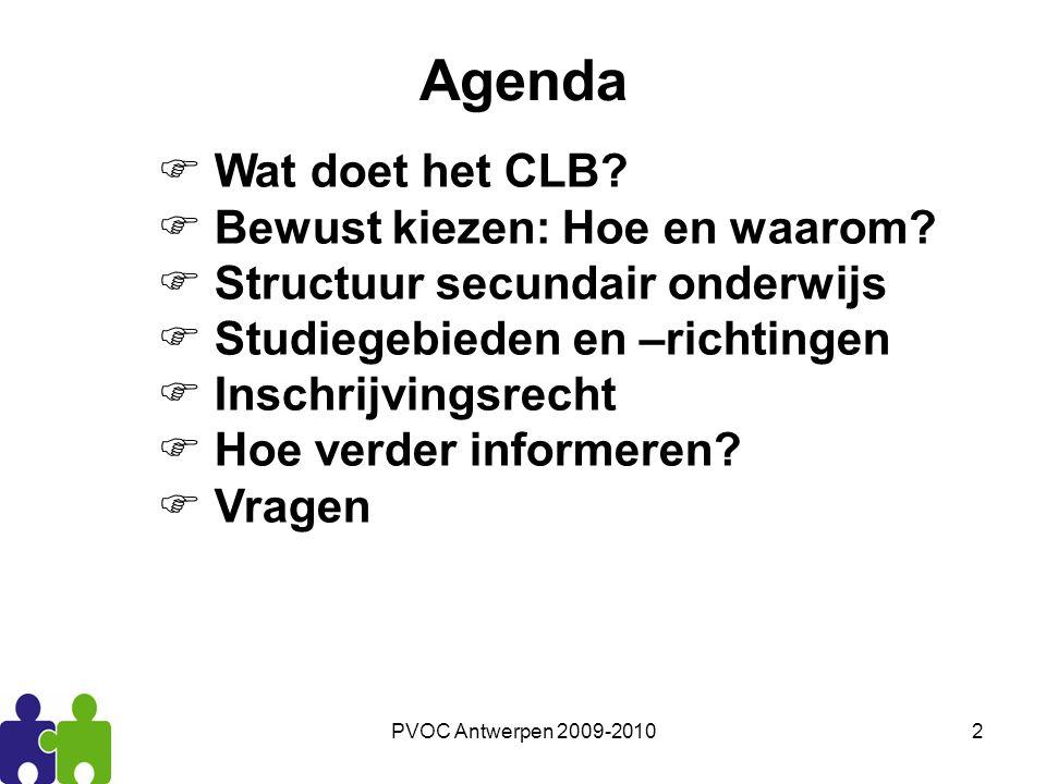 Agenda Wat doet het CLB Bewust kiezen: Hoe en waarom
