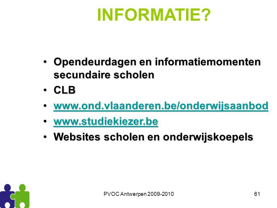 INFORMATIE Opendeurdagen en informatiemomenten secundaire scholen CLB