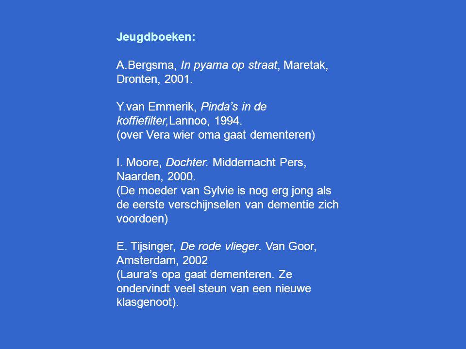 Literatuurlijst H. Anifantakis en J. Tyler, Jezelf vergeten. Bruna, Utrecht, 2002. (het gevecht van een gezin met de ziekte van Alzheimer)