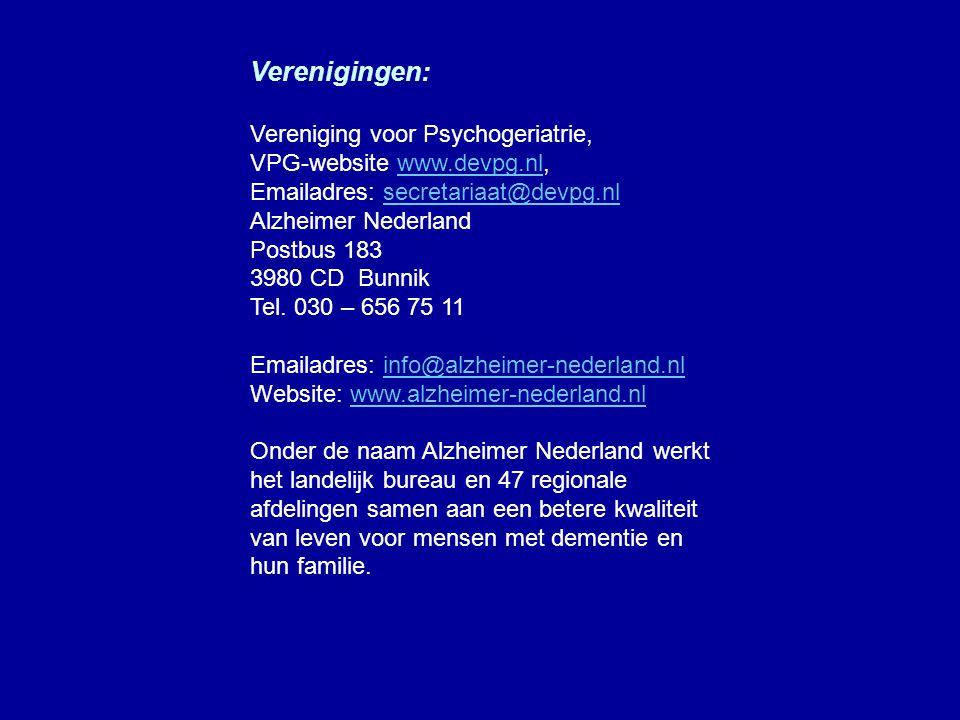 Verenigingen: Vereniging voor Psychogeriatrie,