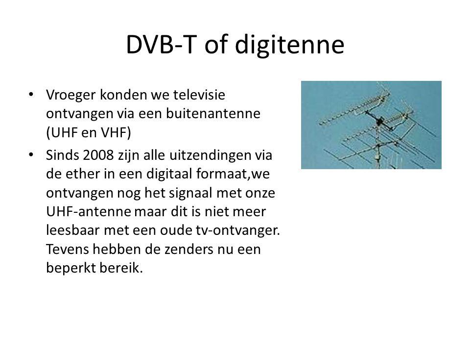 DVB-T of digitenne Vroeger konden we televisie ontvangen via een buitenantenne (UHF en VHF)