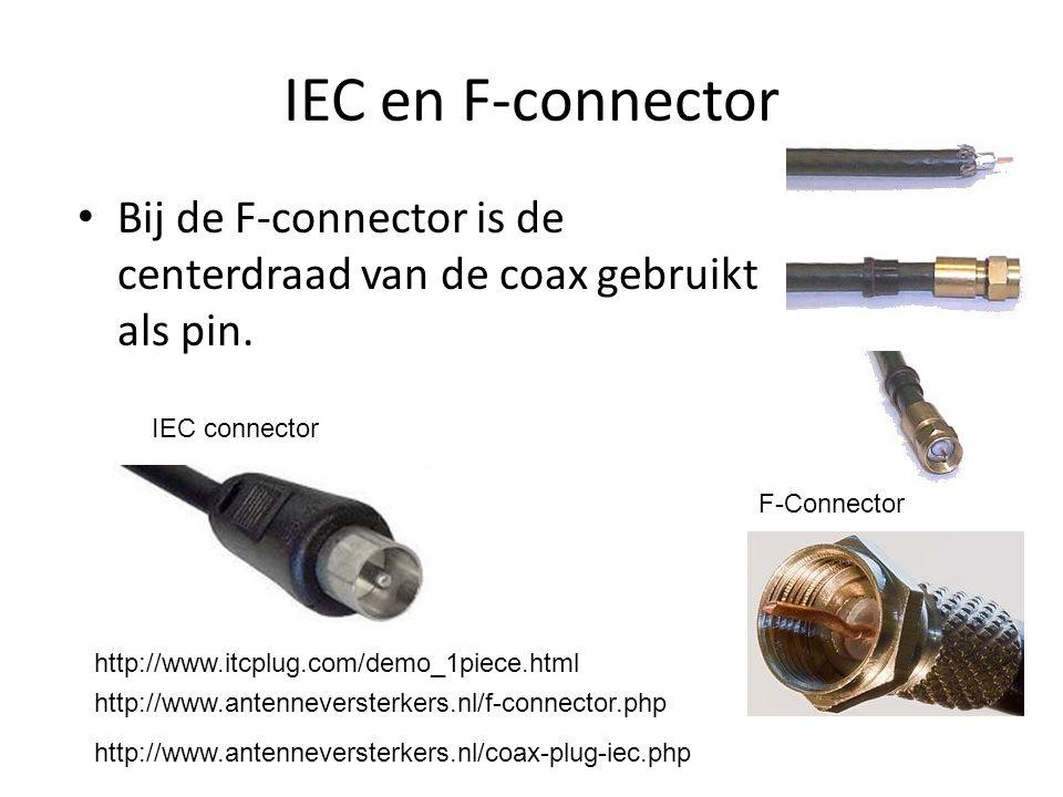 IEC en F-connector Bij de F-connector is de centerdraad van de coax gebruikt als pin. IEC connector.