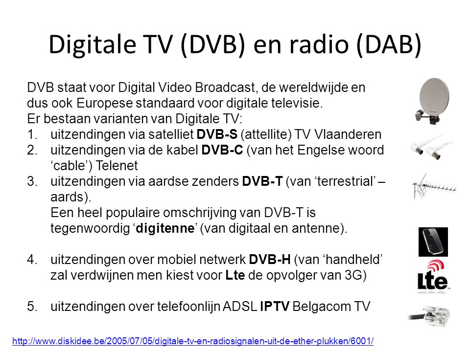 Digitale TV (DVB) en radio (DAB)