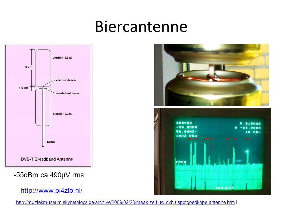 Biercantenne -55dBm ca 490µV rms http://www.pi4zlb.nl/