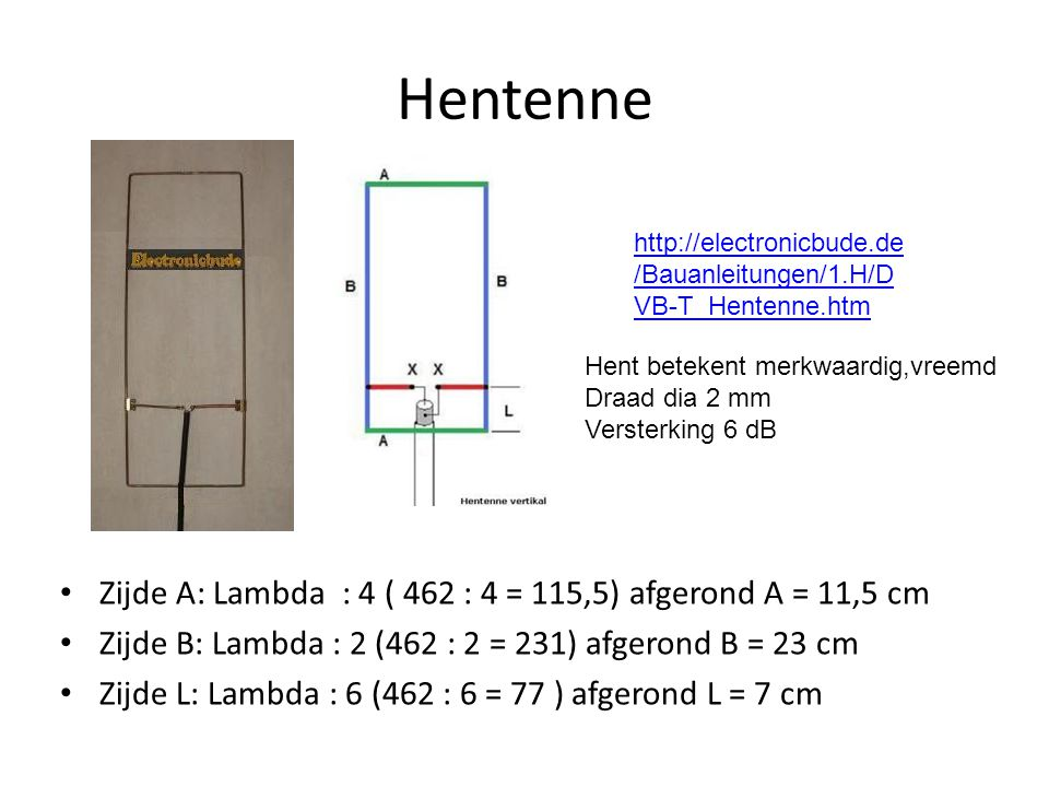 Hentenne Zijde A: Lambda : 4 ( 462 : 4 = 115,5) afgerond A = 11,5 cm