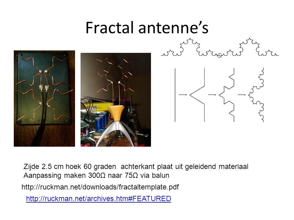 Fractal antenne's Zijde 2.5 cm hoek 60 graden achterkant plaat uit geleidend materiaal. Aanpassing maken 300Ω naar 75Ω via balun.