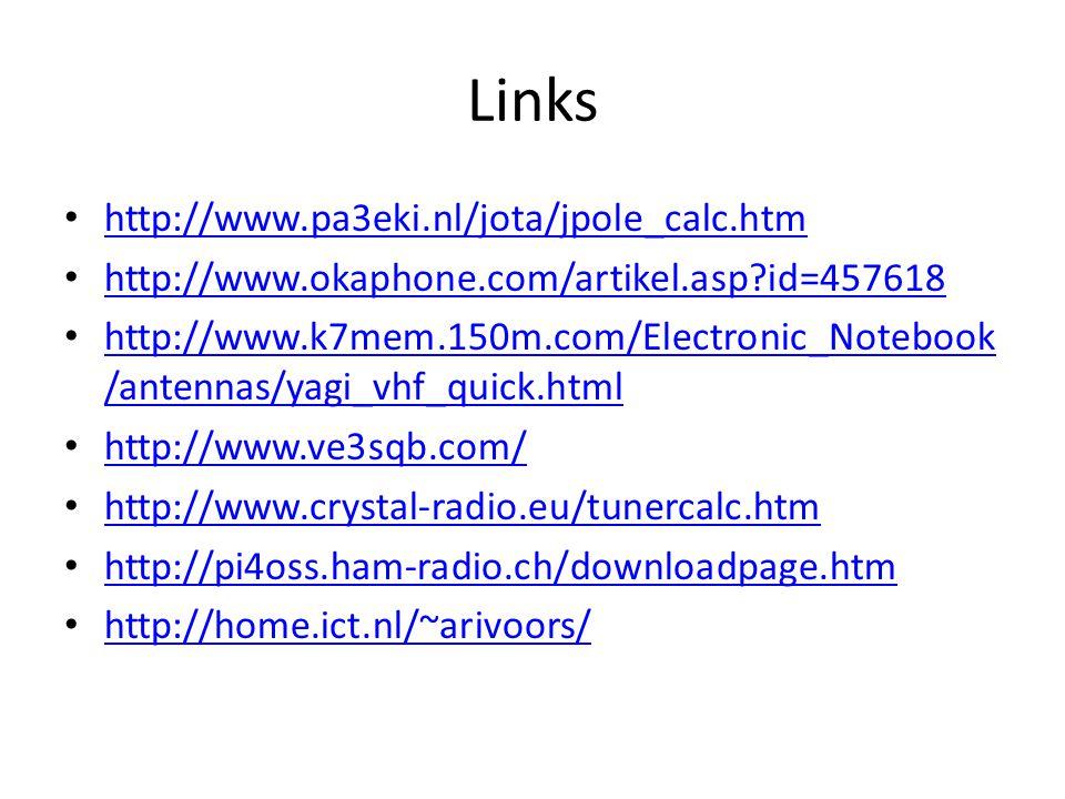 Links http://www.pa3eki.nl/jota/jpole_calc.htm