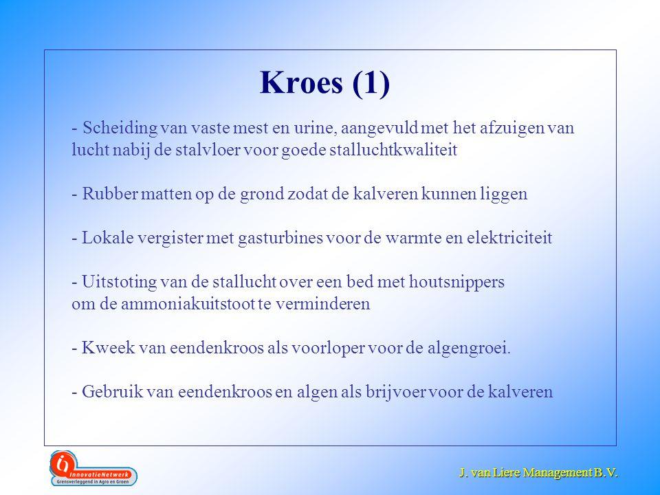 Kroes (1) Scheiding van vaste mest en urine, aangevuld met het afzuigen van lucht nabij de stalvloer voor goede stalluchtkwaliteit.