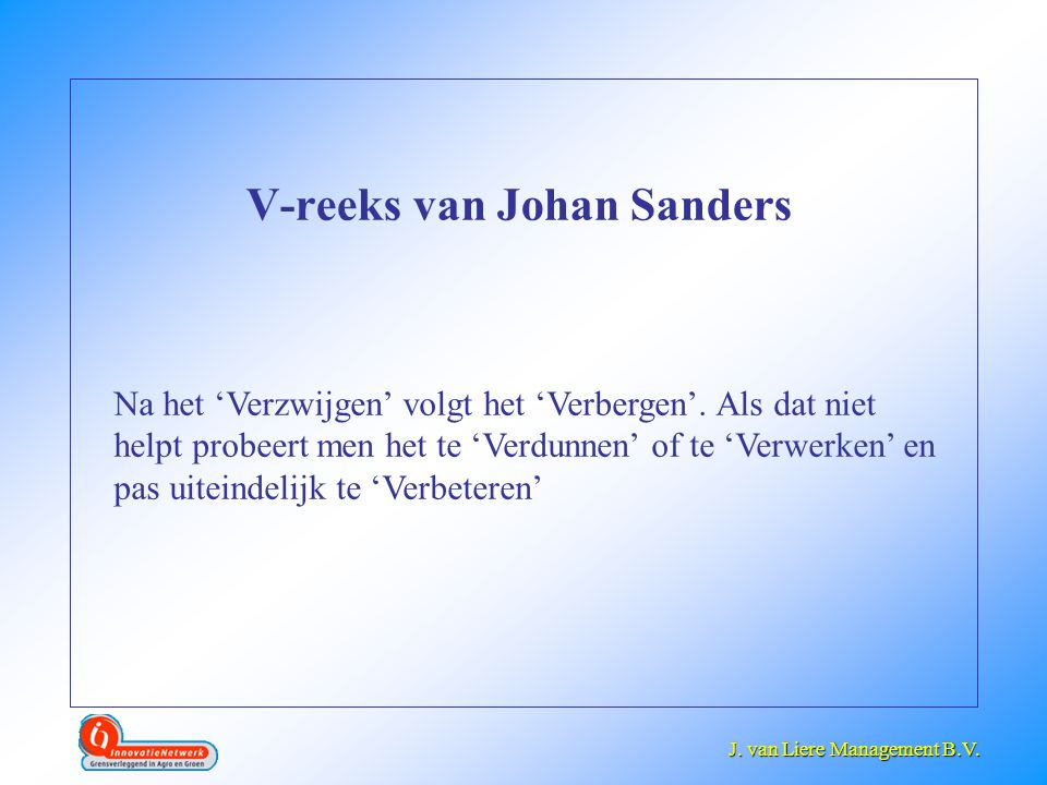 J. van Liere management V-reeks van Johan Sanders
