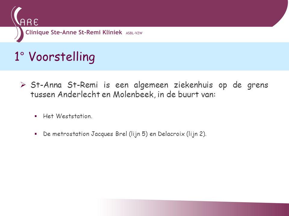1° Voorstelling St-Anna St-Remi is een algemeen ziekenhuis op de grens tussen Anderlecht en Molenbeek, in de buurt van: