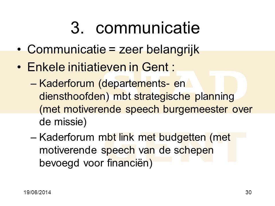 communicatie Communicatie = zeer belangrijk