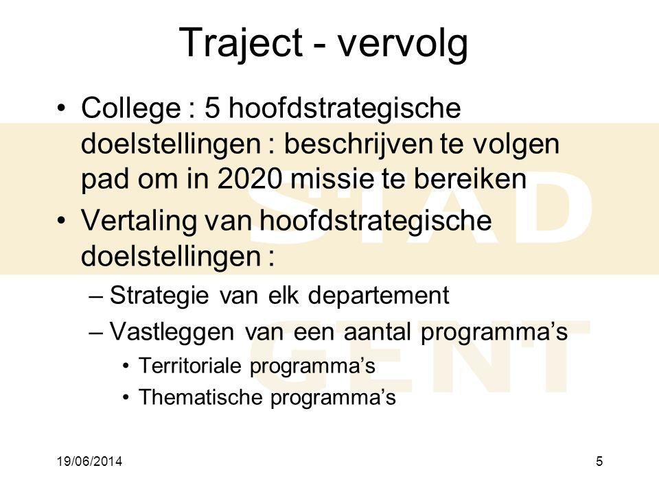 Traject - vervolg 2/04/2017. College : 5 hoofdstrategische doelstellingen : beschrijven te volgen pad om in 2020 missie te bereiken.
