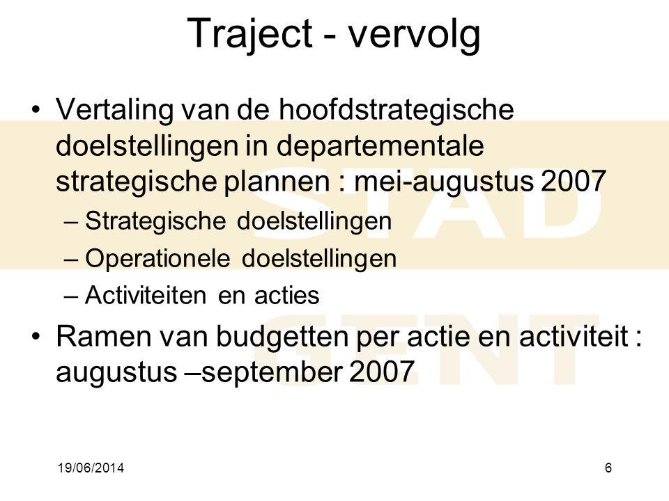 Traject - vervolg 2/04/2017. Vertaling van de hoofdstrategische doelstellingen in departementale strategische plannen : mei-augustus 2007.