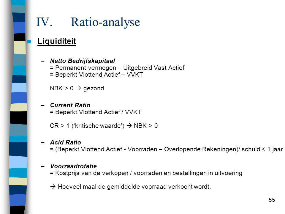 Gezonde situatie: NBK = PV – UVA NBK = BVA - VVKT