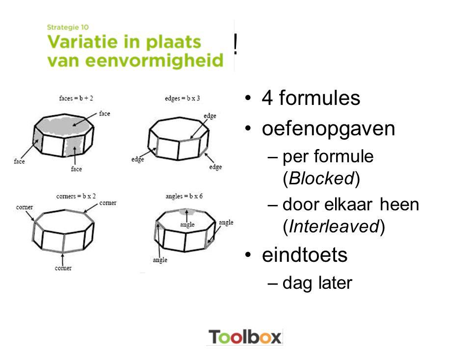 ! 4 formules oefenopgaven eindtoets per formule (Blocked)