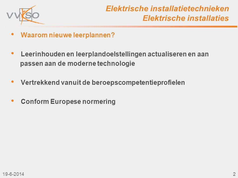 Elektrische installatietechnieken Elektrische installaties