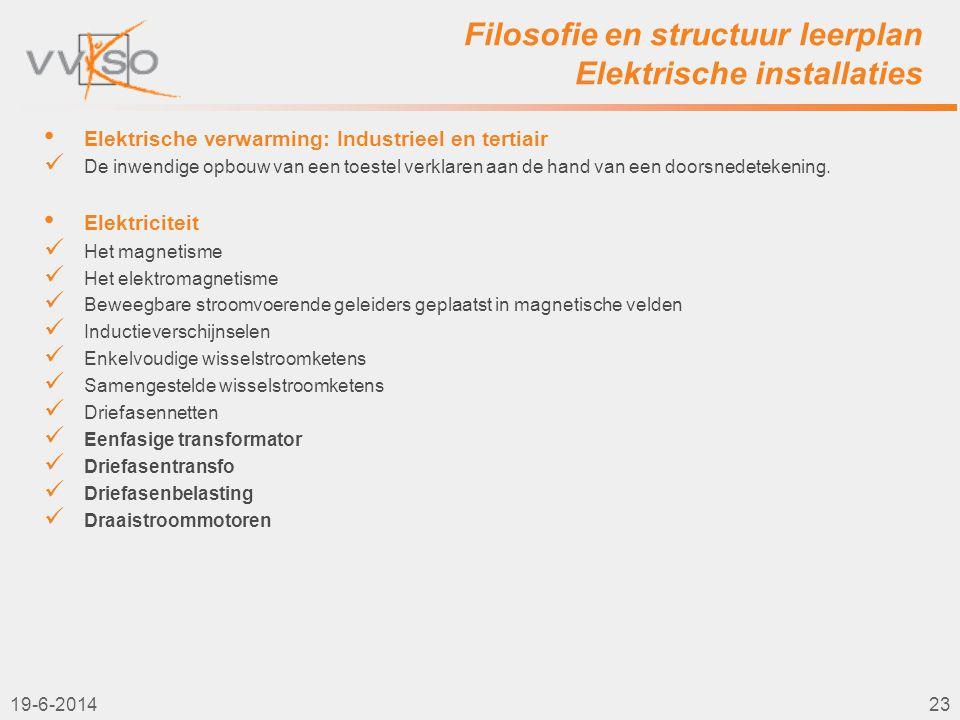 Filosofie en structuur leerplan Elektrische installaties