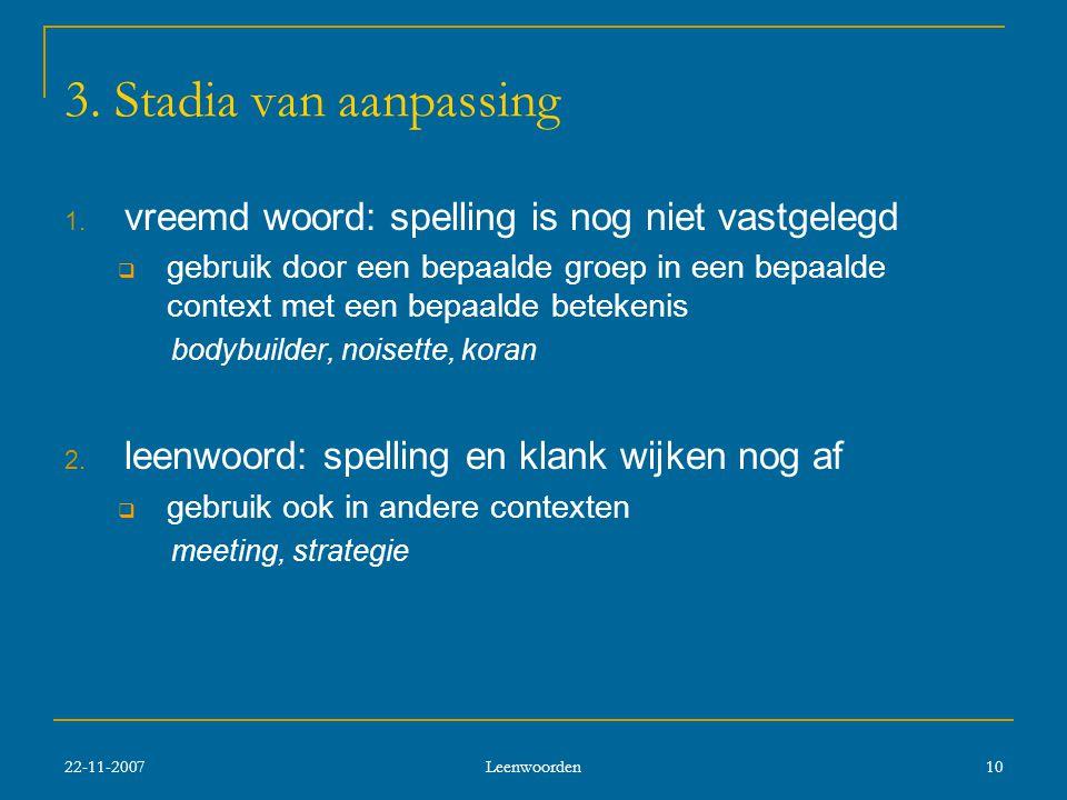 3. Stadia van aanpassing vreemd woord: spelling is nog niet vastgelegd