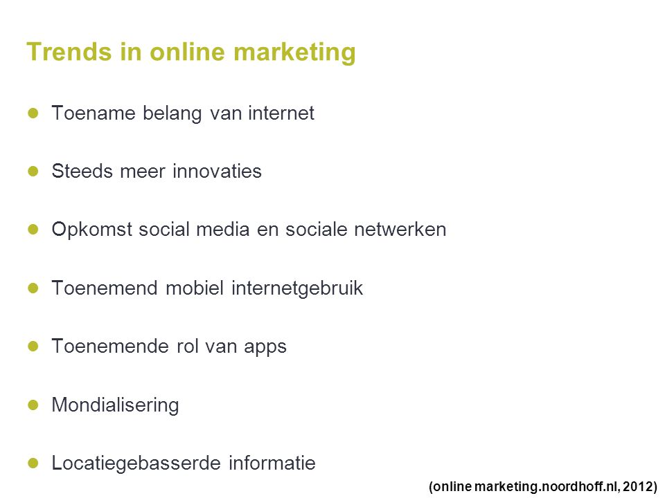 Trends in online marketing
