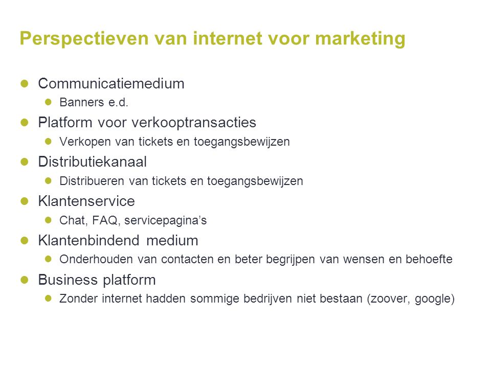 Perspectieven van internet voor marketing