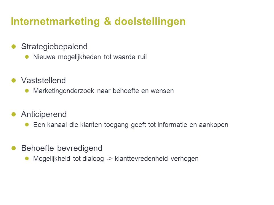 Internetmarketing & doelstellingen