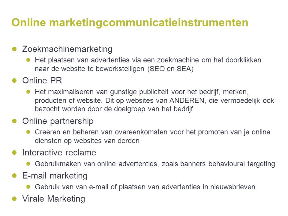 Online marketingcommunicatieinstrumenten