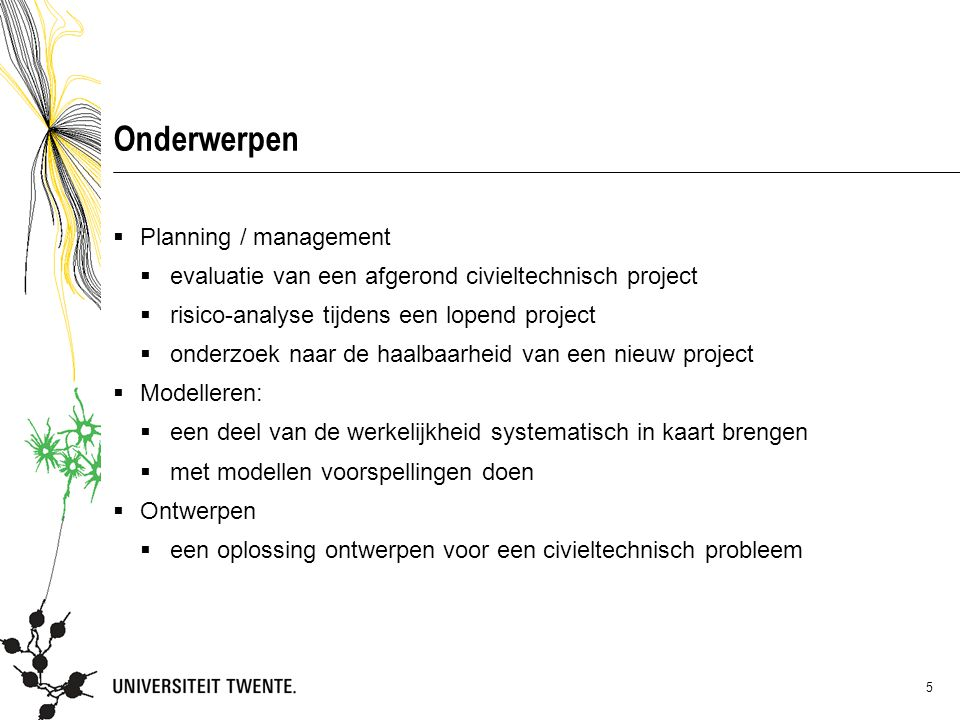 Onderwerpen Planning / management