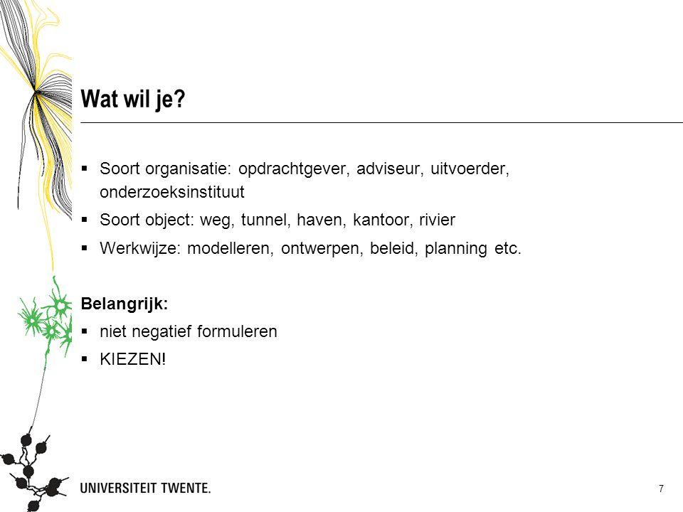 05 maart 2013 Wat wil je Soort organisatie: opdrachtgever, adviseur, uitvoerder, onderzoeksinstituut.