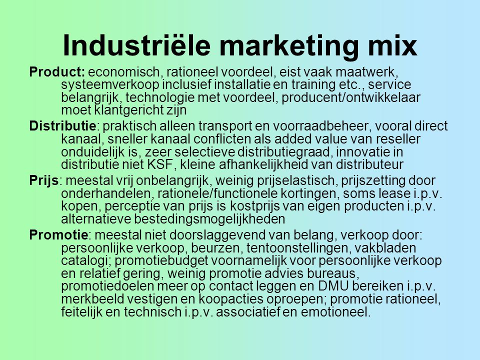 Industriële marketing mix