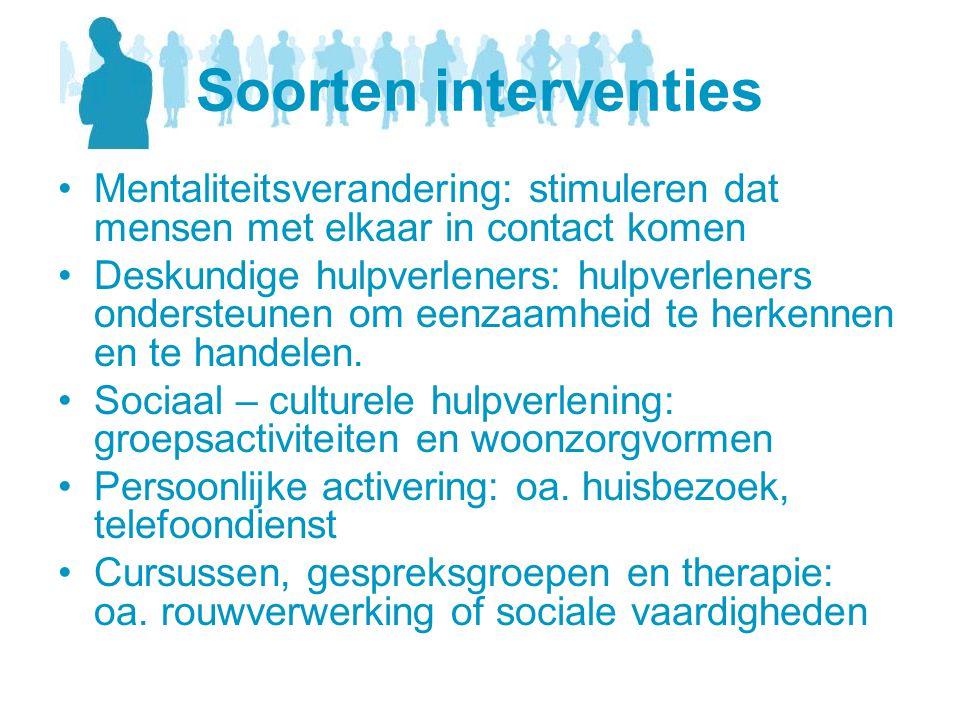 Soorten interventies Mentaliteitsverandering: stimuleren dat mensen met elkaar in contact komen.