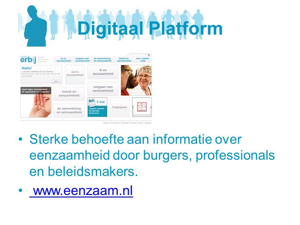 Digitaal Platform Sterke behoefte aan informatie over eenzaamheid door burgers, professionals en beleidsmakers.