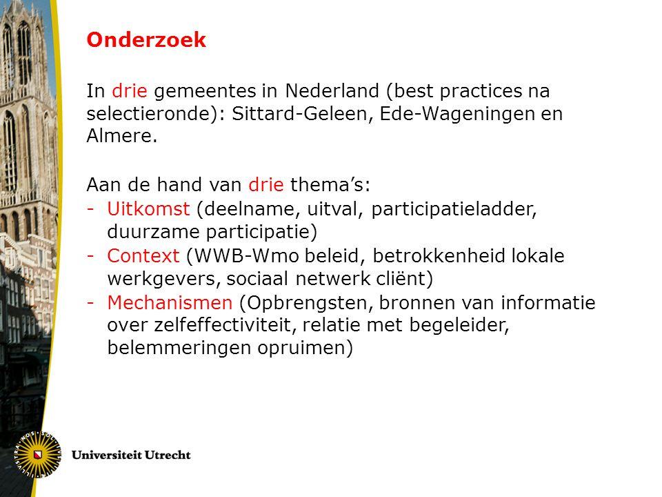 Onderzoek In drie gemeentes in Nederland (best practices na selectieronde): Sittard-Geleen, Ede-Wageningen en Almere.