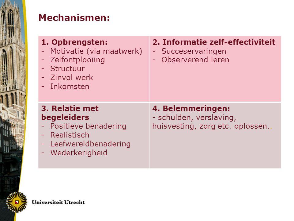 Mechanismen: 1. Opbrengsten: Motivatie (via maatwerk) Zelfontplooiing