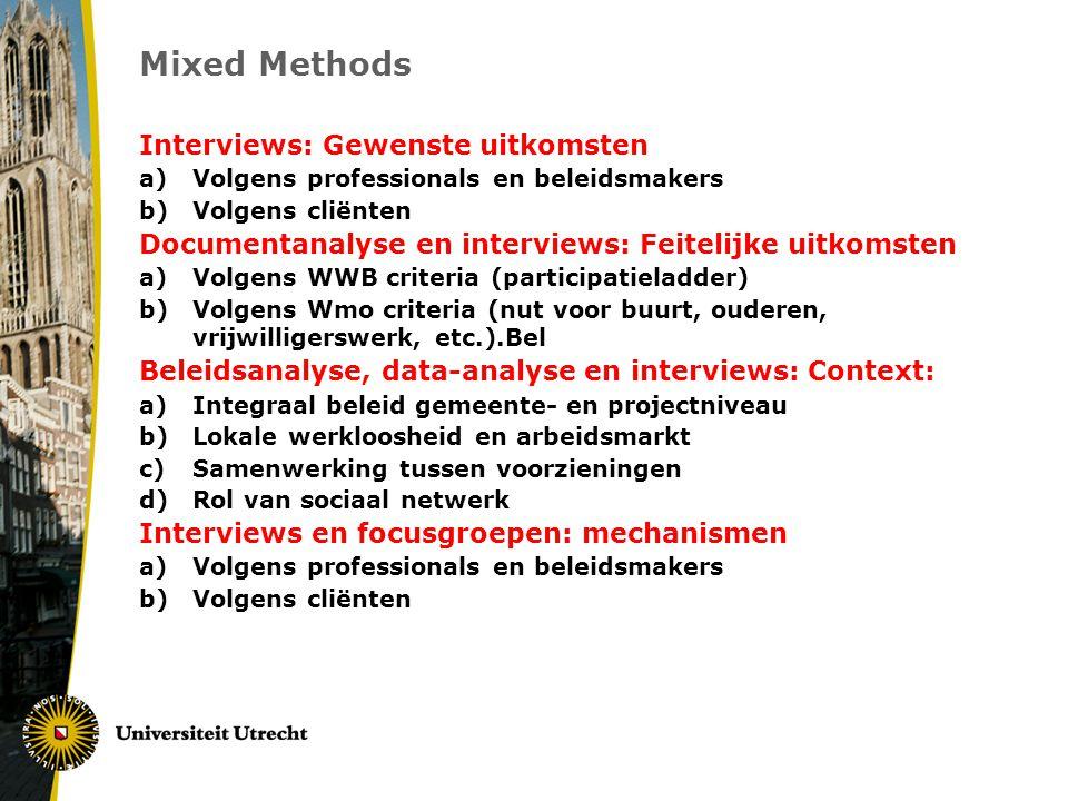 Mixed Methods Interviews: Gewenste uitkomsten