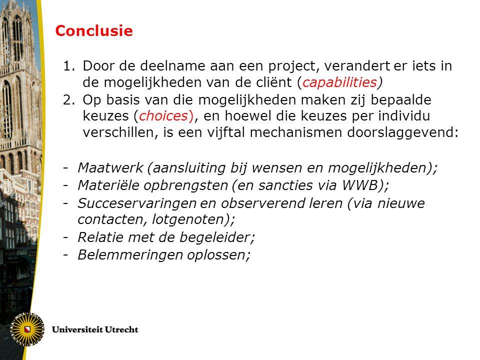 Conclusie Door de deelname aan een project, verandert er iets in de mogelijkheden van de cliënt (capabilities)