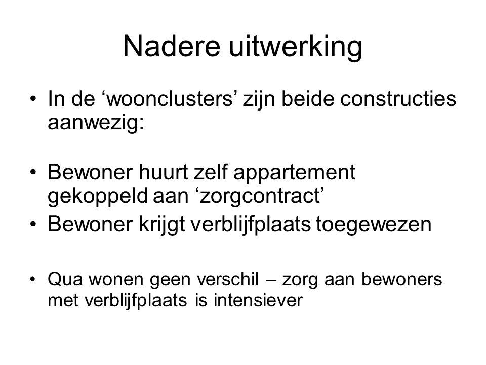 Nadere uitwerking In de 'woonclusters' zijn beide constructies aanwezig: Bewoner huurt zelf appartement gekoppeld aan 'zorgcontract'