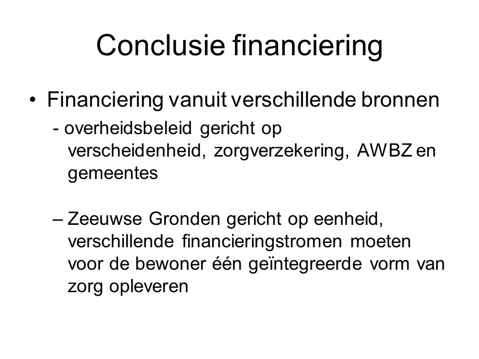 Conclusie financiering