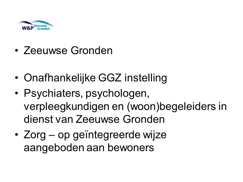 Zeeuwse Gronden Onafhankelijke GGZ instelling. Psychiaters, psychologen, verpleegkundigen en (woon)begeleiders in dienst van Zeeuwse Gronden.