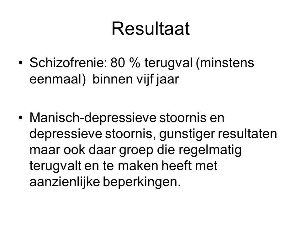 Resultaat Schizofrenie: 80 % terugval (minstens eenmaal) binnen vijf jaar.