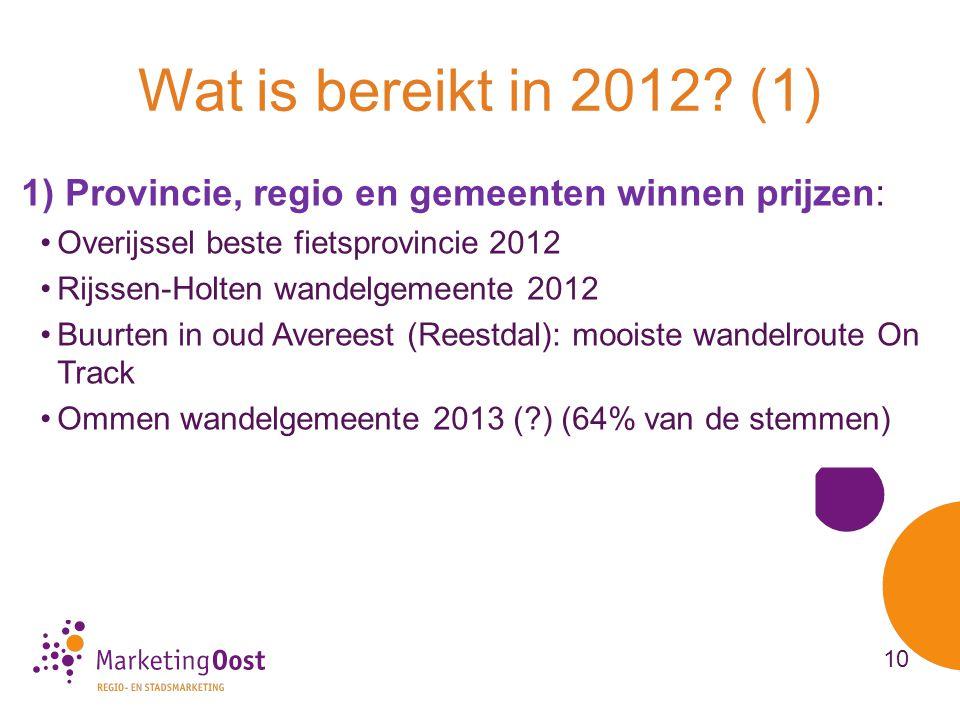 Wat is bereikt in 2012 (1) 1) Provincie, regio en gemeenten winnen prijzen: Overijssel beste fietsprovincie 2012.