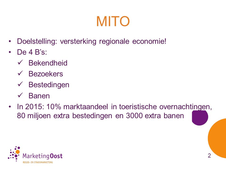 MITO Doelstelling: versterking regionale economie! De 4 B's: