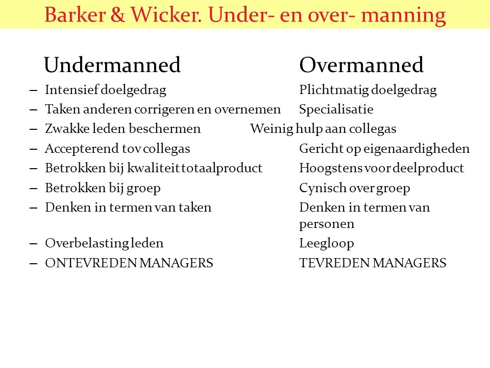 Barker & Wicker. Under- en over- manning