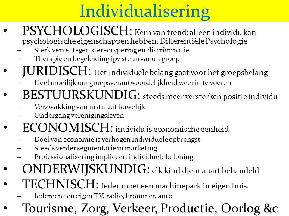 Individualisering PSYCHOLOGISCH: Kern van trend: alleen individu kan psychologische eigenschappen hebben. Differentiële Psychologie.