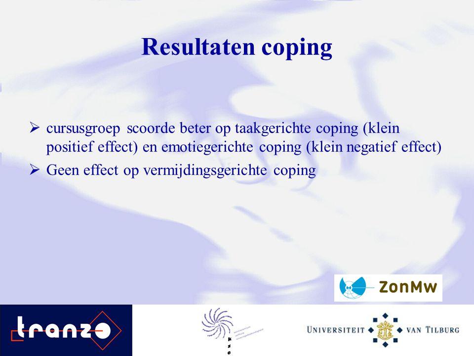Resultaten coping cursusgroep scoorde beter op taakgerichte coping (klein positief effect) en emotiegerichte coping (klein negatief effect)