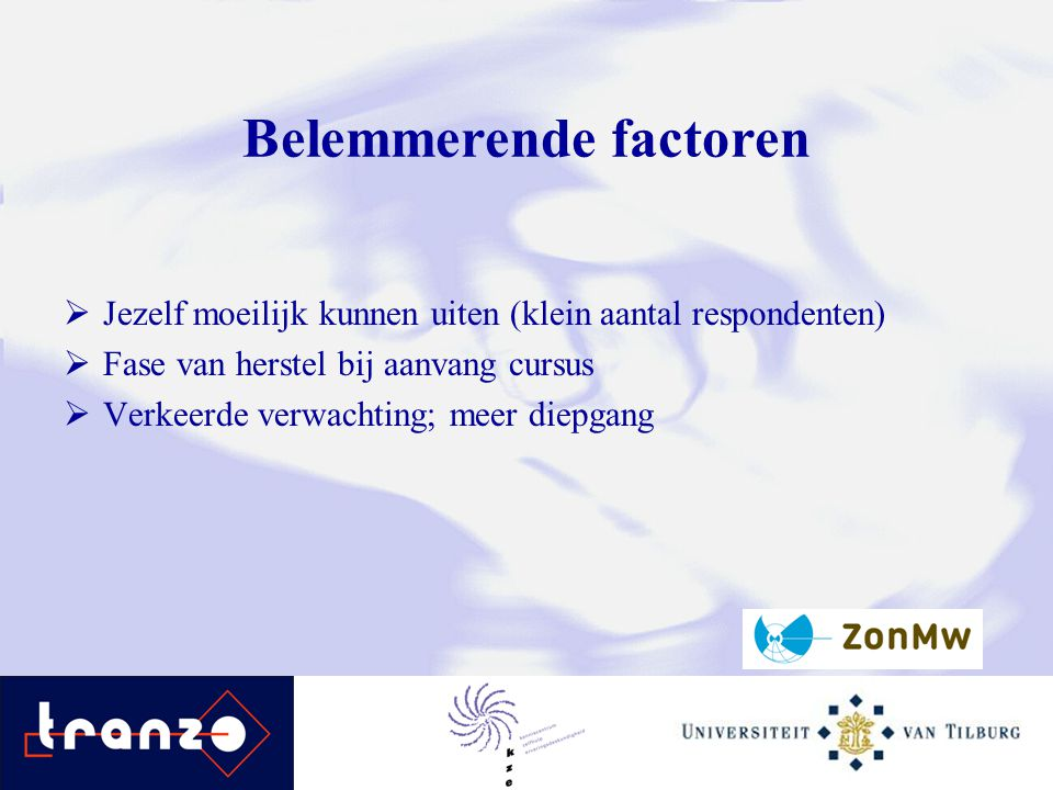 Belemmerende factoren