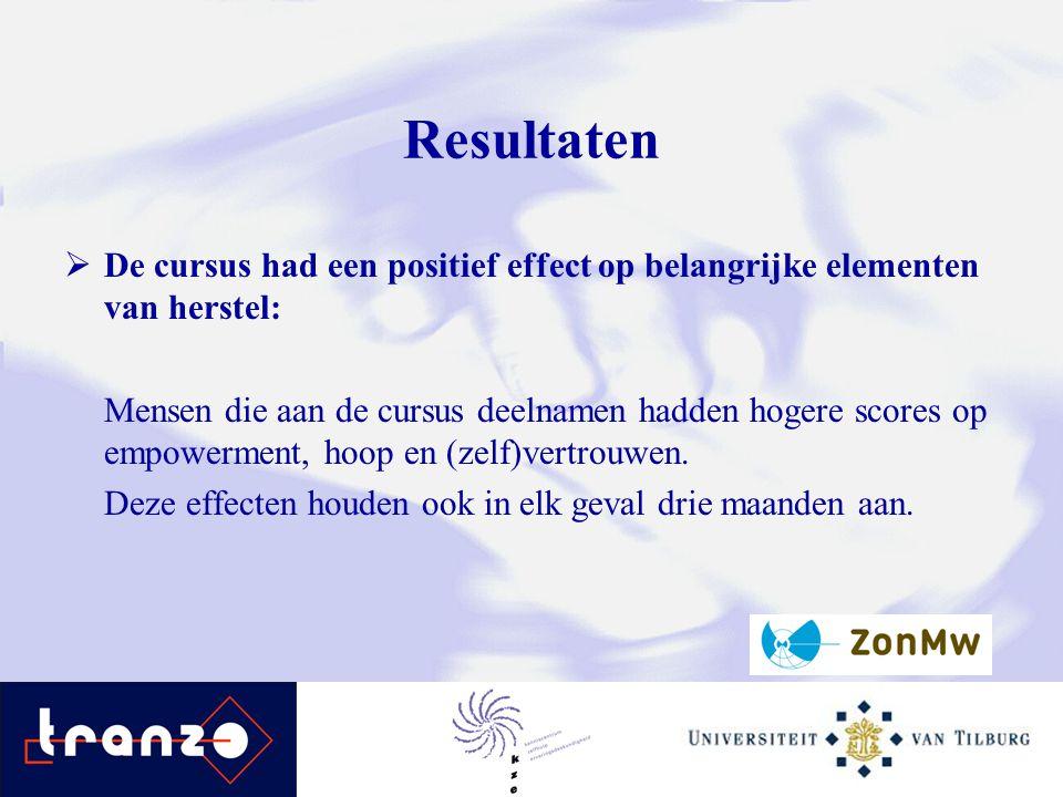 Resultaten De cursus had een positief effect op belangrijke elementen van herstel: