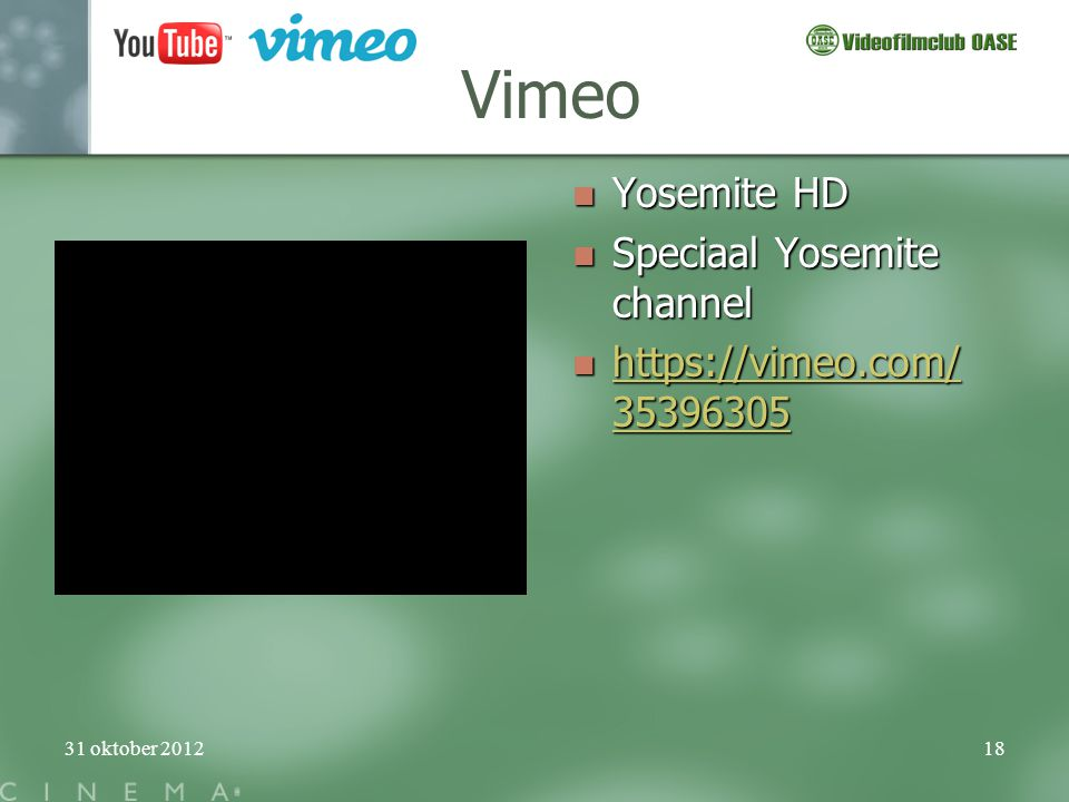 Vimeo Yosemite HD Speciaal Yosemite channel https://vimeo.com/35396305